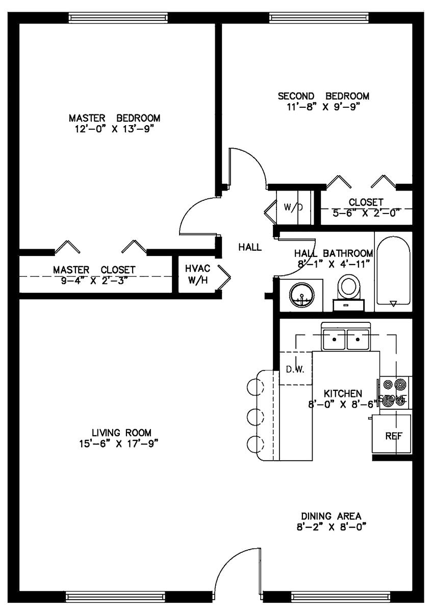 100 Two Bedroom Floor Plans One Bath Columbus Ga